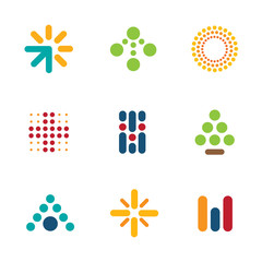 Dot logo set symbol arrow success progress icon help vector