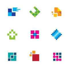 Chip success technology logo connection icon set creativity