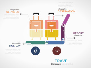 Travel concept infographic template with baggage cart