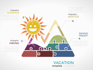 Vacation concept infographic template with mountain landscape