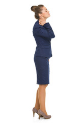 Full length portrait of business woman with neck pain