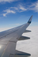 Flying airplane wing