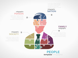 People concept infographic template with silhouette