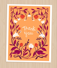 Vector thank you card in flat style