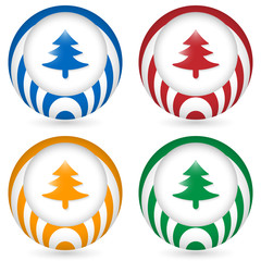 set of four icon with tree symbol