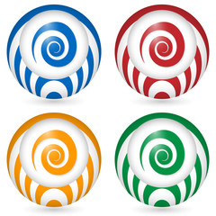 set of four icon with spiral symbol