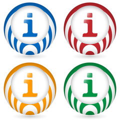 set of four icon with info symbol