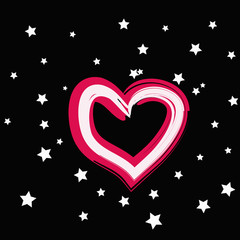 magic pink heart with white star on a black background