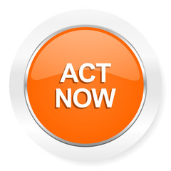 act now orange computer icon