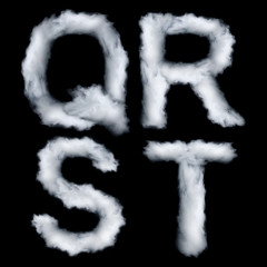 Letters made of smoke, Q R S T, isolated on black