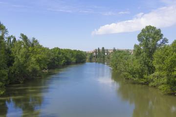 Pisuerga river passing through Valladolid, Spain