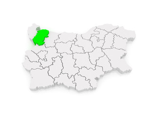 Map of Montana area. Bulgaria.