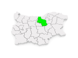 Map of Veliko Tarnovo Province. Bulgaria.