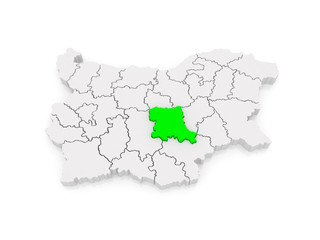 Map of Stara Zagora region. Bulgaria.