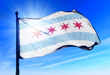 Chicago (USA) flag waving on the wind