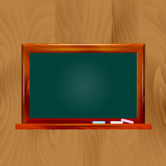 illustration school dark green chalkboard on wooden background