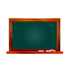 Illustration school dark green chalkboard on white background
