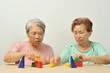 積み木で遊んでいる高齢者の二人組