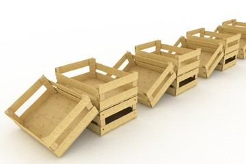 Empty wooden boxes. Containers for fruits and vegetables