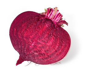 Fresh beetroot half isolated on white