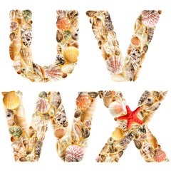 Letter U V W X made of seashells and sand