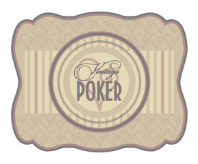 Vintage poker hearts label, vector illustration