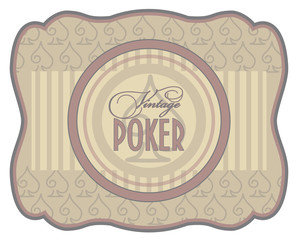 Vintage poker spades label, vector illustration