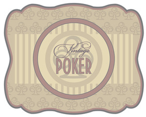 Vintage poker clubs label, vector illustration