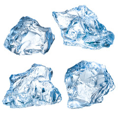 Ice blocks on a white background. Collection