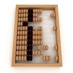 Retro abacus. 3d illustration on white background