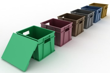 Open plastic containers with a lid