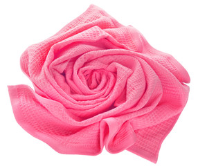 towel in flower shape isolated on white background