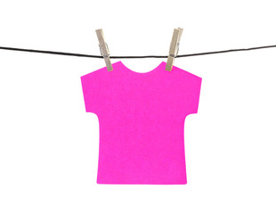 Flat pink T-shirt sticky note hanged, isolated