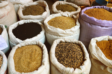 Grain food and spices in Arabic store