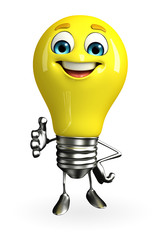 Light Bulb Character with shake hand pose