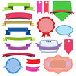 Set of multicolored labels, ribbons and badges