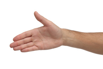 Open hand isolated on white bakground