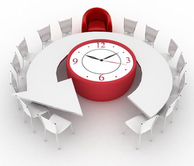 Arm-chair of chief and office chairs at table as an clock
