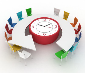 Group of office chairs at table as an clock