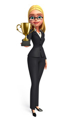 Young Business Woman with trophy