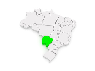 Map of Mato Grosso do Sul. Brazil.