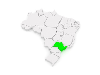 Map of Sao Paulo. Brazil.