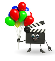 Clapper Board Character with balloons