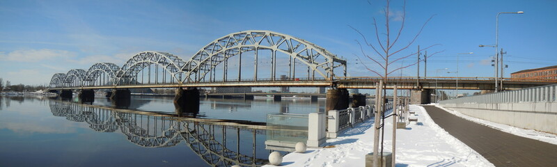 Panorama of Railway bridge (Riga, Latvia)