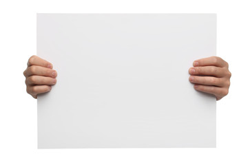 Male hands holding blank paper isolated on white background
