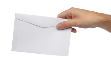 Male hand holding blank envelope isolated