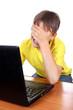 Sad Kid with Laptop