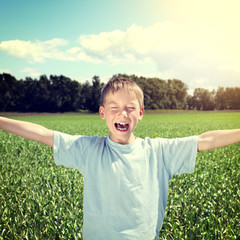 Happy Kid at the Field