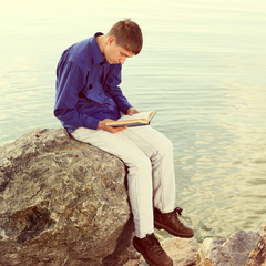 Teenager with a Book outdoor