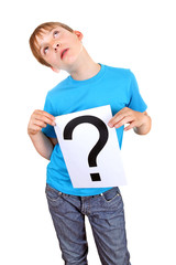Kid holds Question Mark